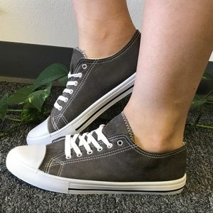 Shoes - Charcoal Slide On Sneakers
